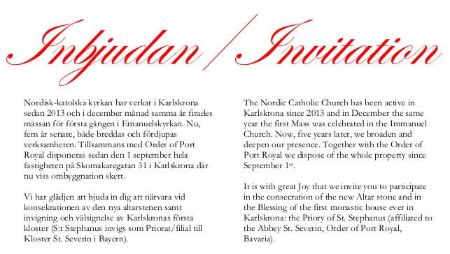 Invitation to Church Blessing in Karlskrona 8-9 December – The ...